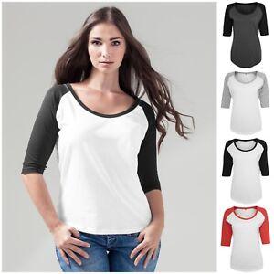 Womens-Ladies-3-4-Sleeve-Raglan-Baseball-Casual-T-Shirt-Tee-Jersey-Top-Scoop