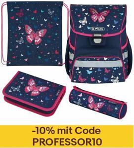 Herlitz Schulranzen Set Loop Plus Butterfly 4-teilig Schultasche Mädchen pink
