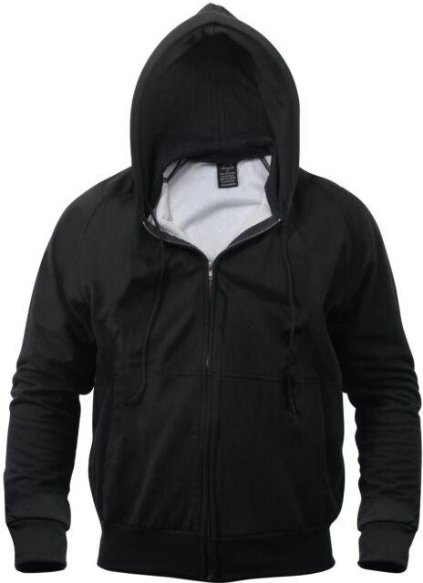 Mens Black Solid Thermal Lined Full Zip Hoodie Sweatshirt