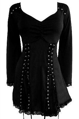 RENAISSANCE Gothic Peasant ELECTRA Corset Junior & Jr Plus Size Top Raven Black