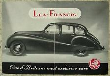 LEA FRANCIS 14 HP SIX LIGHT SALOON Car Sales Brochure c1950?