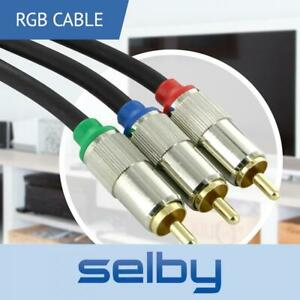 1.5m Component Video Cable RGB AV YUV  3 RCA to 3 RCA Gold Plated