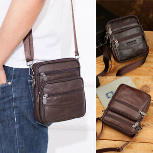 Small-Handbag-Men-039-s-Leather-Crossbody-Messenger-Shoulder-Bags-Satchel-Tablet-Bag