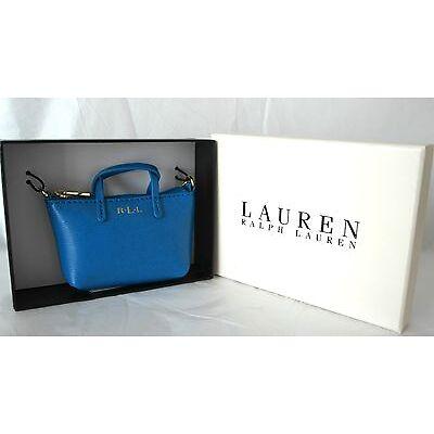 New Boxed Lauren Ralph Lauren Cyan Mini Bag Charm Coin purse Blue
