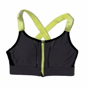 Fabletics Womens Sports Bra Gray Highlighter Yellow Solid Perforated Size Small