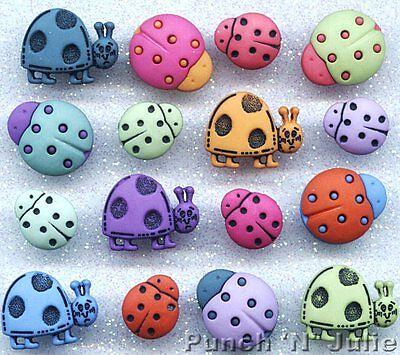 TRENDY LADYBIRDS - Bright Ladybug Bugs Nature Garden Dress It Up Craft Buttons