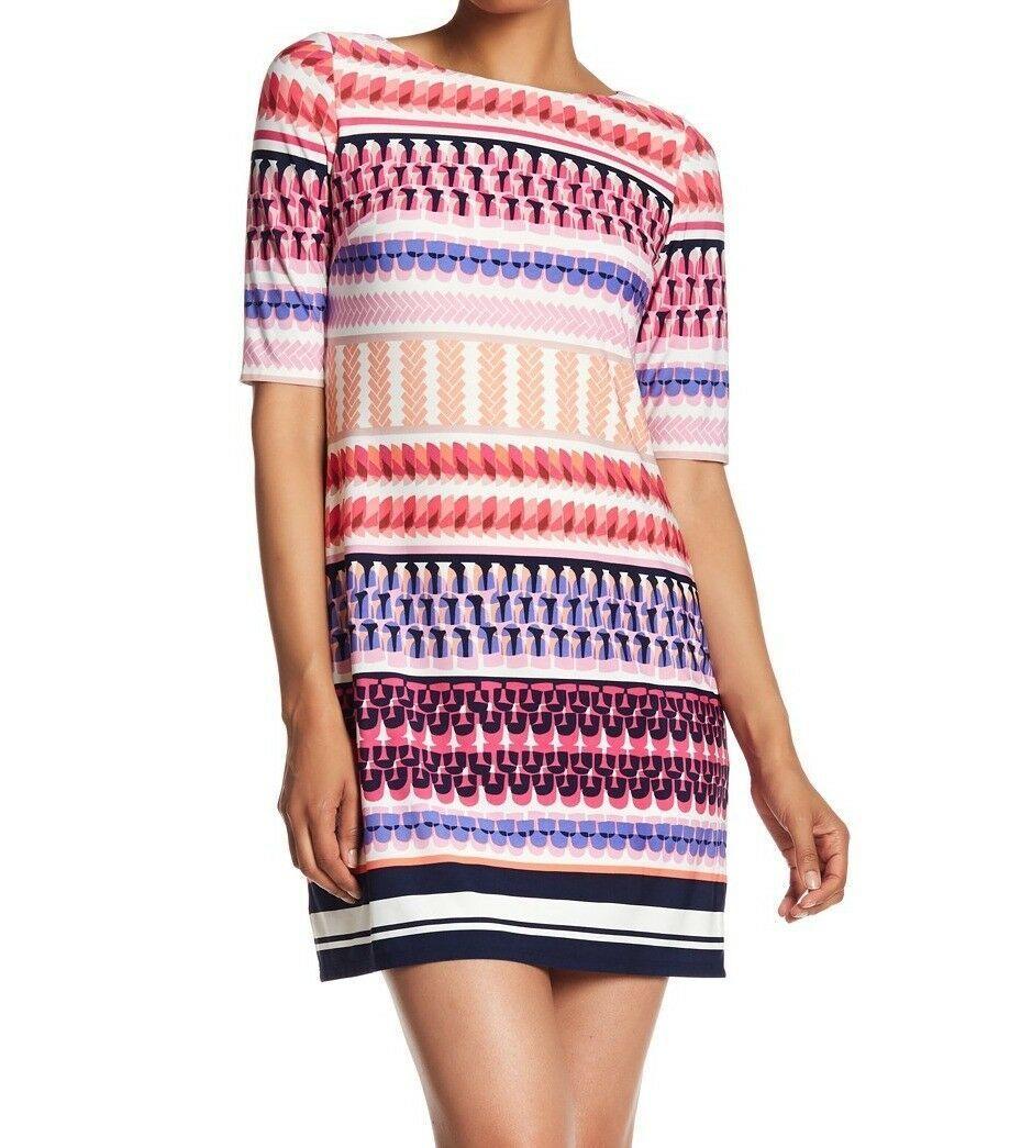 ELIZA J GEOMETRIC PRINT STRIPE PINK SHIFT DRESS sz 0