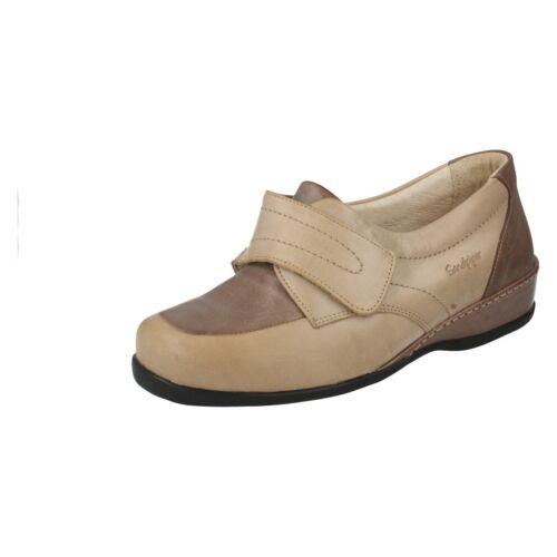 Mesdames Wardale beige//bleu marine chaussures en cuir par bécasseau détail £ 29.99