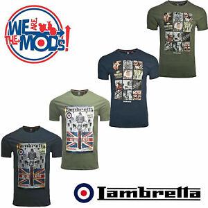 Lambretta-Retro-T-Shirts-Print-Scooter-Short-Sleeve-MOD-Mens-Cotton-UK-S-4XL