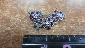 Vintage Sterling Amithyst and Marcasite wreath brooch