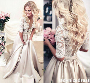 Half Sleeve Lace Satin Bridal Ball Gown A Line Church Wedding Dress Custom Made
