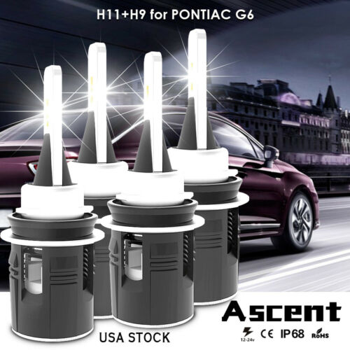 Front H9 H11 CREE LED Headlight Kit Bulbs High Low Beam For Pontiac G6 2009-2005