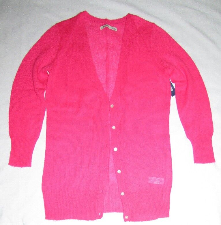 NEW Old Navy Cardigan Button Front Long Sleeve Mohair Blend Neon Pink Size M