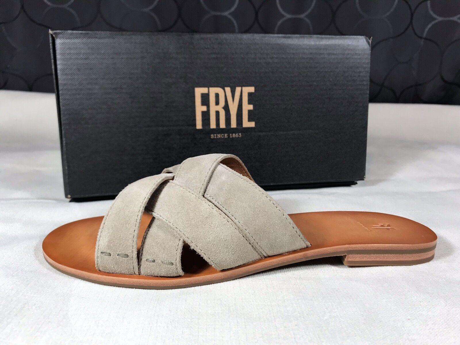 128 Frye Carla Criss Cross Ash Gray Suede Leder Slide Sandale Flip Flops