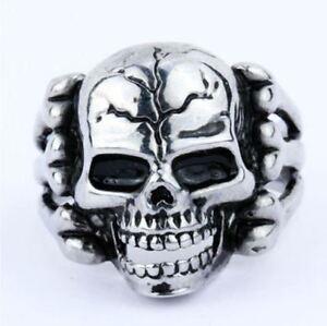 Bague Pour Homme Biker Chevalière Tête De Mort Crâne Squelette Acier Ring Skull Nhjg4yso-07224905-117177798
