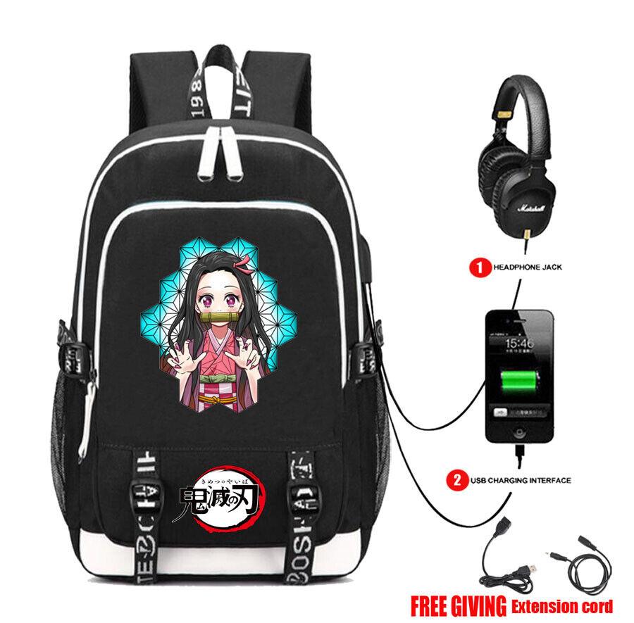anime Demon Slayer Backpack student book bags laptop USB Backpack