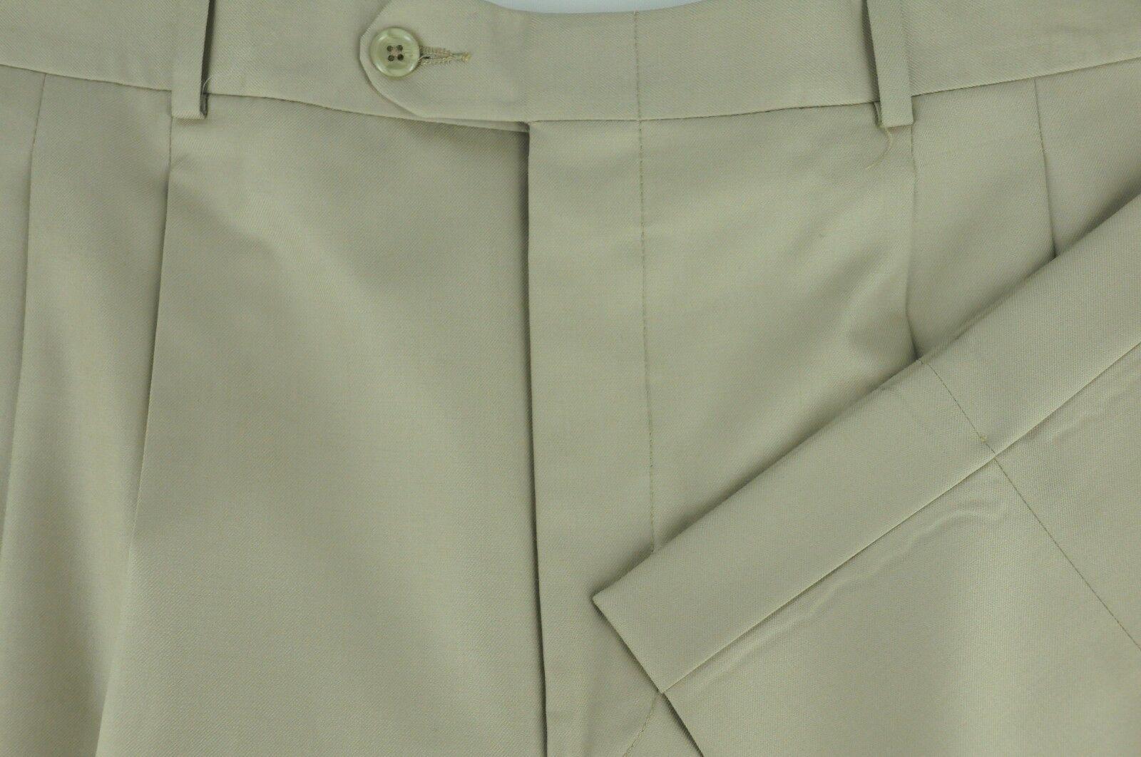 Corbin Men's Light Khaki All Season Wool Pleated Dress Pants 36 x 30