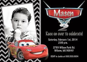 Image Is Loading Cars Lightning McQueen Birthday Party Invitation