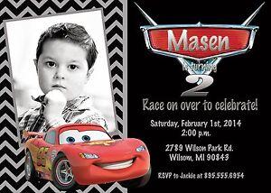 Cars Lightning McQueen Birthday Party Invitation eBay