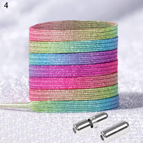 1Pair No Tie Shoe laces Elastic Shoelaces Flat Glitter Shoelace Shiny Shoe Laces