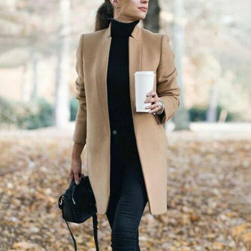 Women Coat Lapel Wool Overcoat Winter Long Trench Parka Jacket Warm Slim Outwear