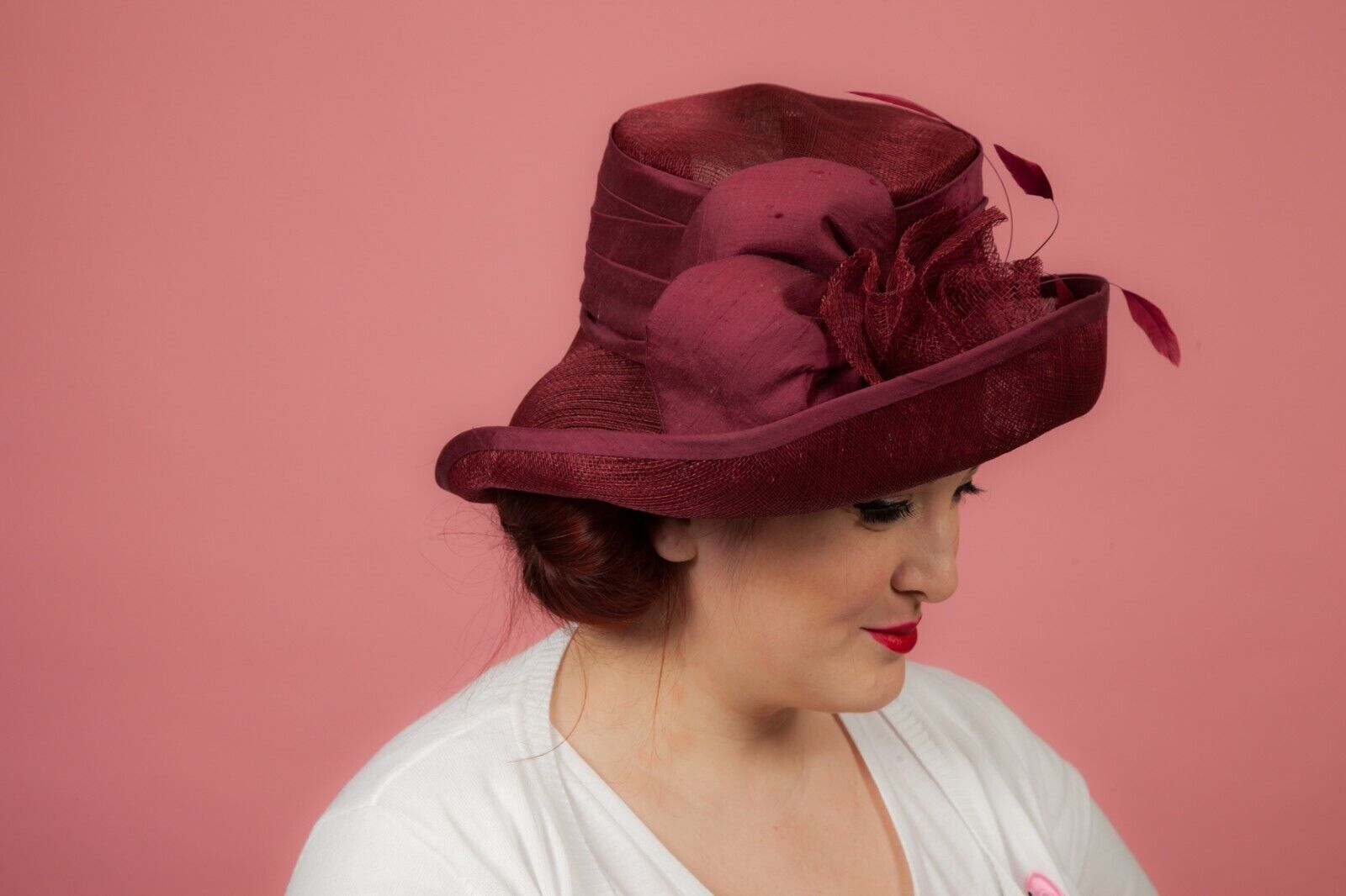 Burgundy Claret feathered formal hat by Pamela Bromley