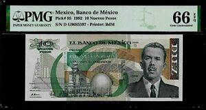 Mexico-10-Nuevos-Pesos-1992-PMG-66-EPQ-UNC-Pick-95