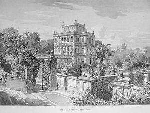 ITALY-Rome-Villa-Pamfili-Antique-Print-Engraving