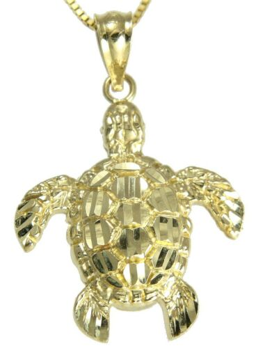 14K Solide Or Jaune Brillant Diamond Cut Hawaïen tortue de mer Honu Pendentif Med.