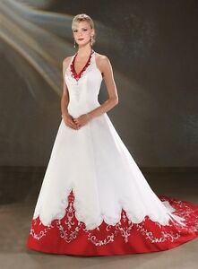 Image Is Loading Vintage Halter Red And White Wedding Dresses Lace