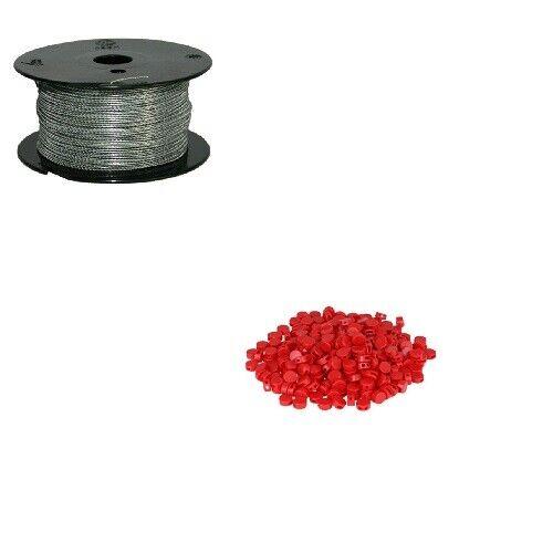 Set Plombendraht 250 Kunststoffplomben rot Prüfmaterial Spardose