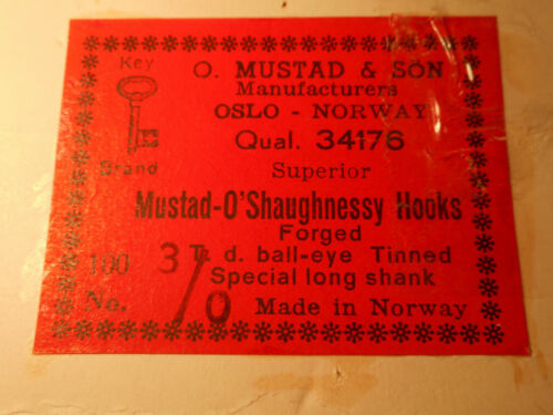 100 MUSTAD 3//0 LARGE FLY O/'SHAUGHNESSY Streamer HOOKS SPECIAL LONG NORWAY 34176