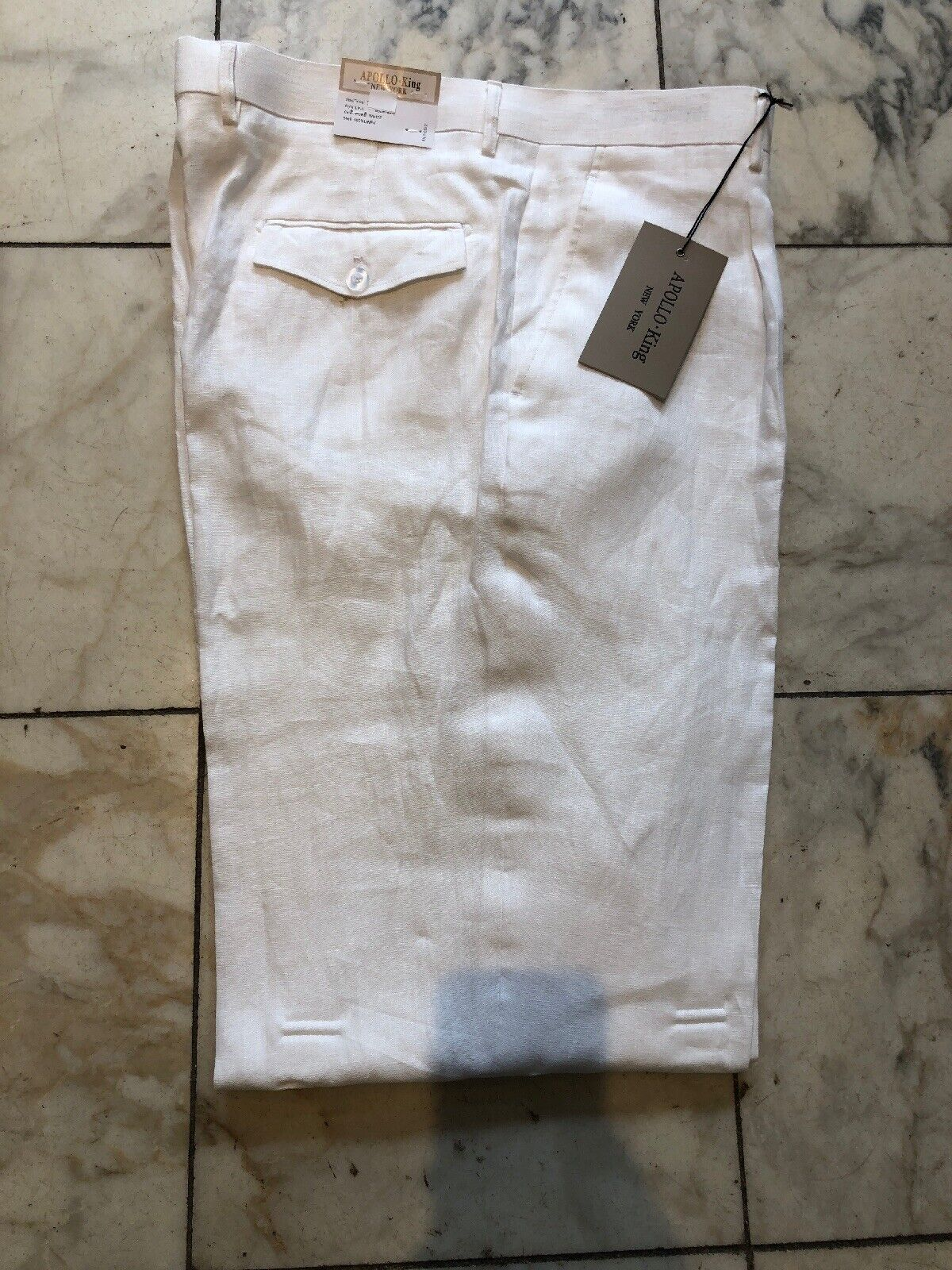 NWT APOLLO KING  PLEATED 100% LINEN WHITE COLOR  PANTS MENS SIZE 48