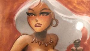 Bruce Timm original color sketch jungle girl partial nude