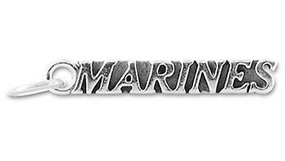 MARINES Military Antiqued Silver Traditional Charm 1pc