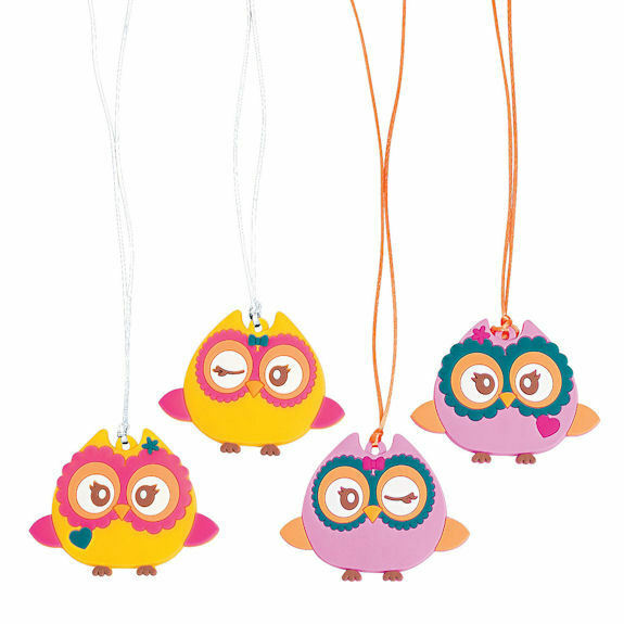 12 hoot OWL rubber NECKLACES Girl's Birthday Party Favors Jewelry Gift