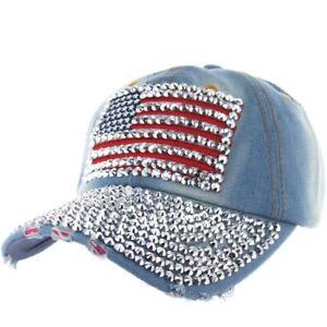 8fbd1866f3488 Details about USA American Flag Bling Rhinestone Adjustable Denim Cotton  Baseball Cap Hat