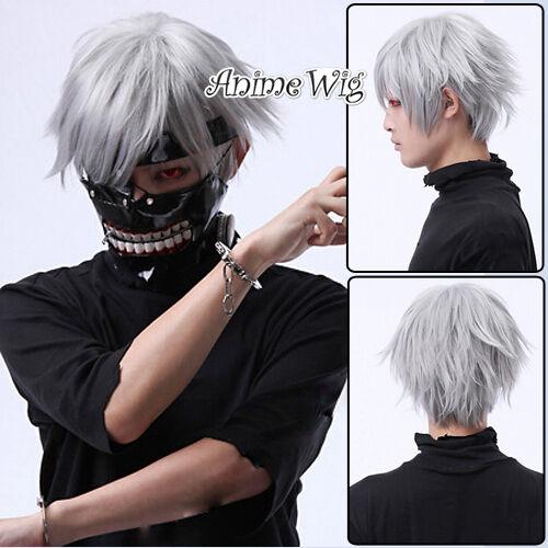 Tokyo Ghoul Jin Muyan Silber Perücke Anime Cosplay Fashion 30cm Wig Gewellt Haar