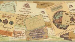 Wallpaper-Border-Designer-French-Wine-amp-Liquor-Labels