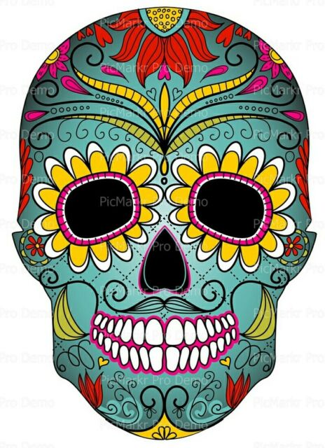 Candy Skull Halloween ~ Frosting Sheet Cake Topper ~ Edible ~ D5832