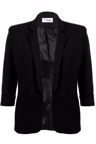 Womens Open Front Turn Up Cuff Ruched Pocket Blazer Ladies Jacket