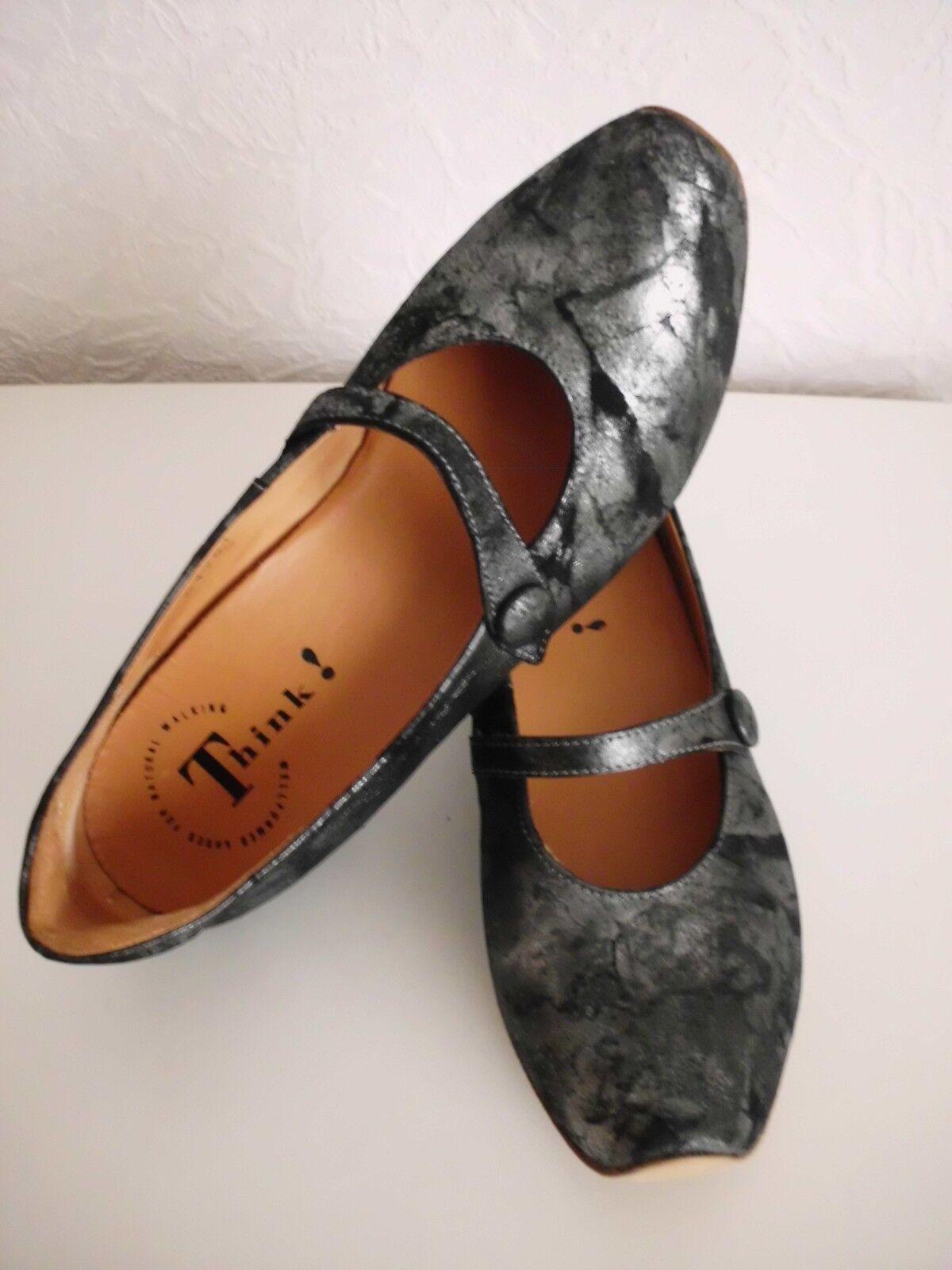 THINK   chic und elegante Leder Größe Riemchen Pumps Schwarz/Silber-Grau in Größe Leder 39 a56a0c