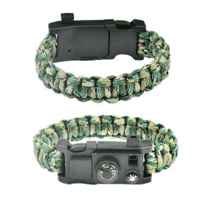 10IN1 Outdoor Emergency Survival Paracord Bracelet Gear Compass Thermometer N8