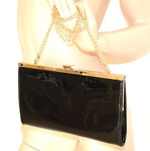 f97d256d8d9aab BORSELLO NERO ORO borsa donna vernice lucida eco pelle borsetta da ...
