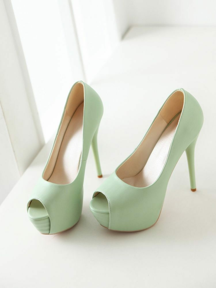 Stiletto Zapatos de Salón Elegantes Mujer Talón Perno Plataforma 13.5 verde 9299