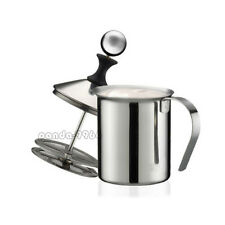 Stainless Steel 400ML Mesh Milk Frother Coffee Foamer Creamer Double Froth Pump