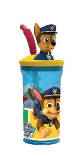 Paw Patrol Chase Bicchiere Tazza con Figura in 3D con cannuccia,gioco bambini