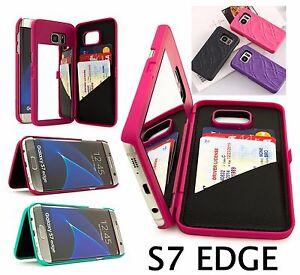 newest 09196 d3f4c Details about Samsung GALAXY S7 EDGE - Hidden Built-in Mirror Wallet Case  Stand w/ Card Holder