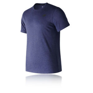 New-Balance-Mens-Heather-Tech-Short-Sleeve-T-Shirt-Tee-Top-Navy-Blue-Sports-Gym