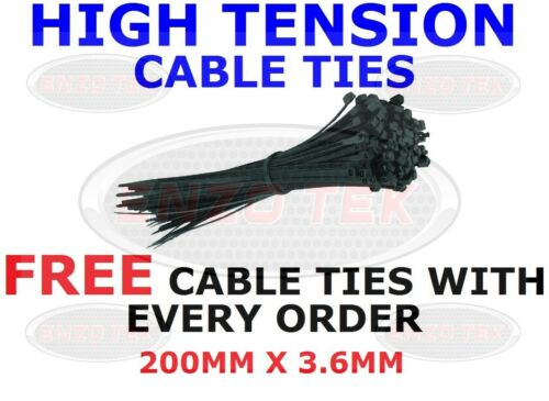 STRONG BLACK CABLE TIES TIE WRAPS ZIP TIES TIDIES 200mm x 3.6mm HIGH QUALITY